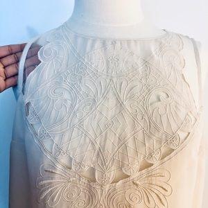 Cream sheer detailed blouse by Kenar